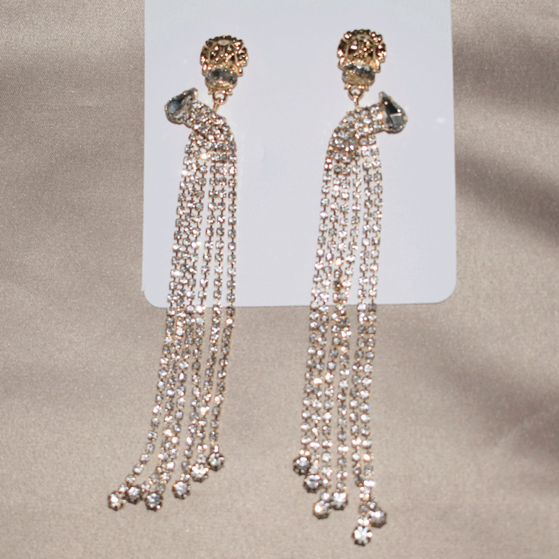 New Shiny Rhinestone Chain With Lion Head Charm Dangle Earrings For Women Fashion Trendy Earrings Accessories