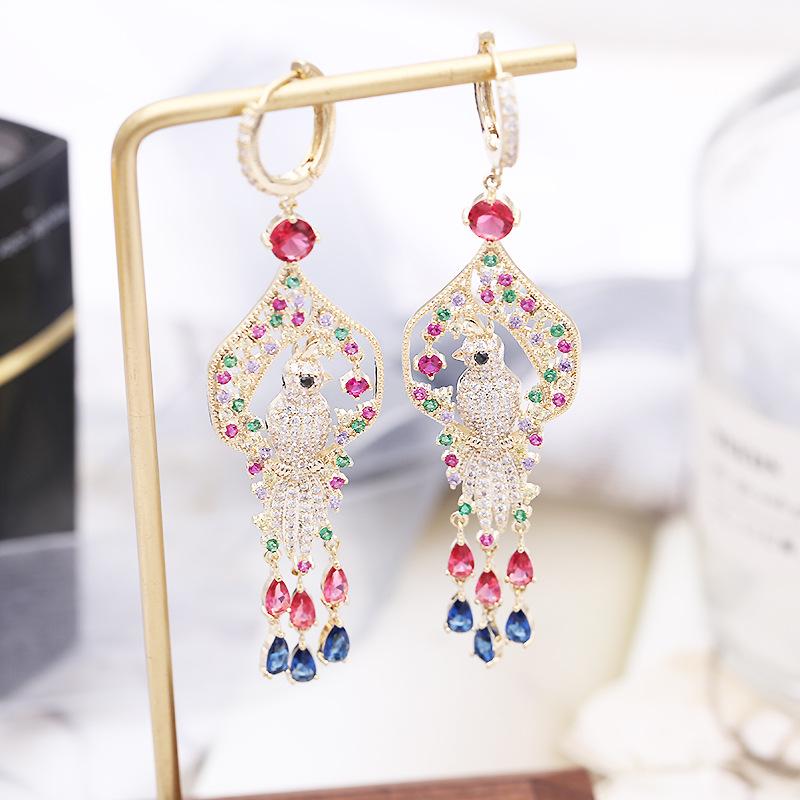 оптовая 2019 европейская и американская ретро дворец цвет циркон феникс долго кисточка серьги для женщин Свадебных ювелирных изделий