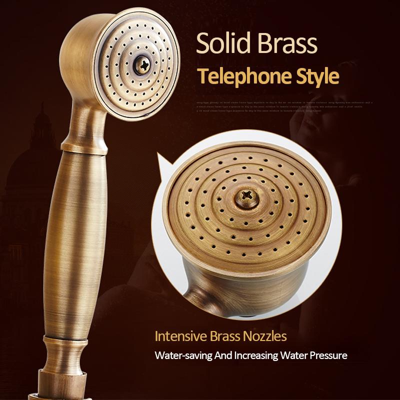 quyanre wanfan gappo antique brass shower faucet set brass rainfall shower head dual handles mixer tap wall mount antique brass shower kit3