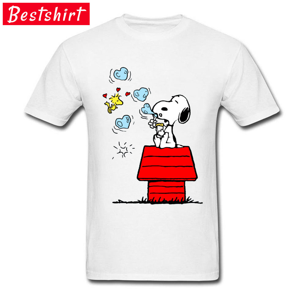 Snoopy and Woodstock -4362 Normal Summer/Autumn Pure Cotton O-Neck Men Tops Tees Tee Shirt Popular Short Sleeve Top T-shirts Snoopy and Woodstock -4362 white