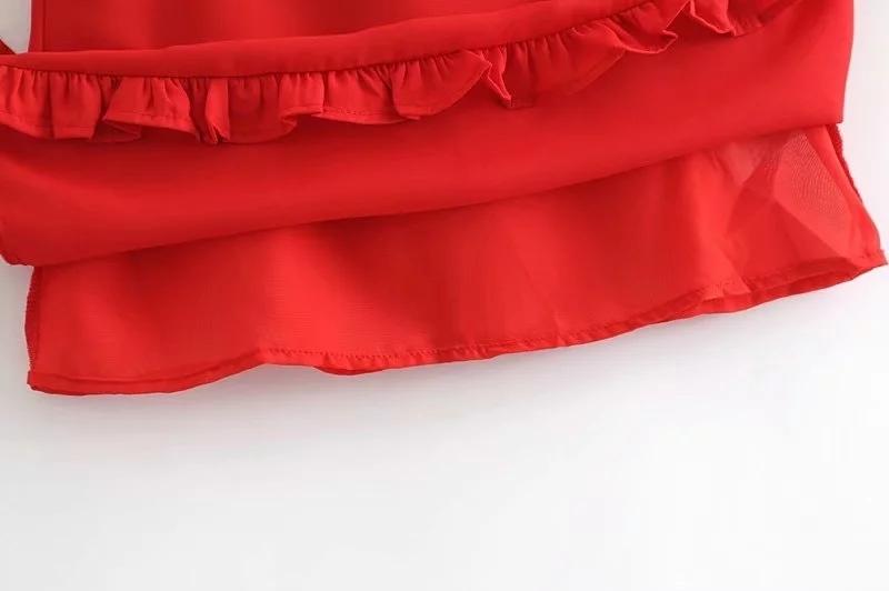 Женщины Ремешок Галстуки Милая декольте Мини-платье с оборками кромкой Азиатский размер Y19050805