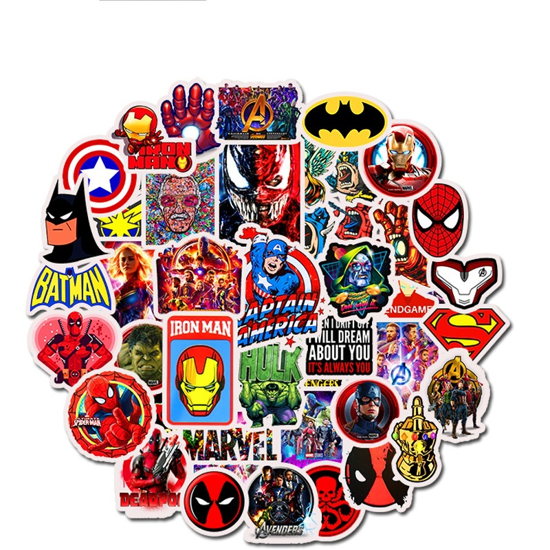 Lot Autocollant Superman Spiderman Hulk Flash Batman Set de 50 Stickers Marvel