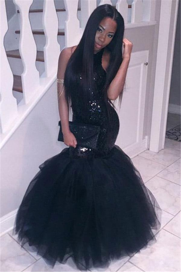 2K16 Black Girl Mermaid Prom Dresses Halter Neck Sequins Topped Backless Fiesta Longo Evening Gowns 2016 Cheap Women Pageant Party Gowns