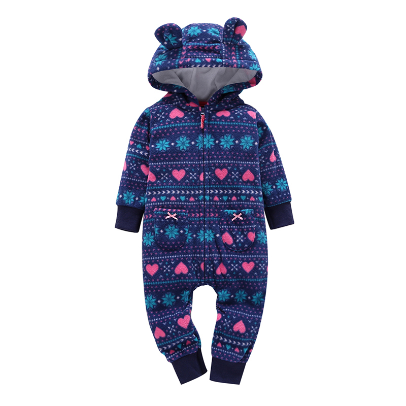 winter jumpsuit for baby,long sleeve hooded zipper ears newborn clothing,infant baby boy girl fleece rompers Children