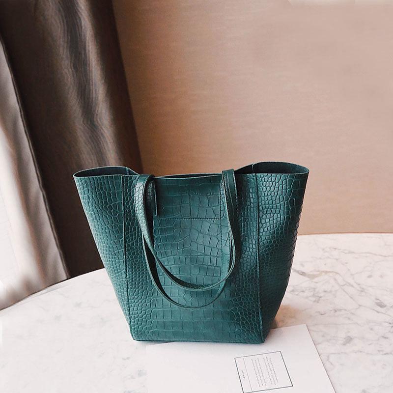 Daunavia Bolso de Las Mujeres Nuevo de Cuero de Cocodrilo Retro Mujer Bolso de Gran Capacidad Bolsos de Hombro Diseñador Casual Tote Bag J190426