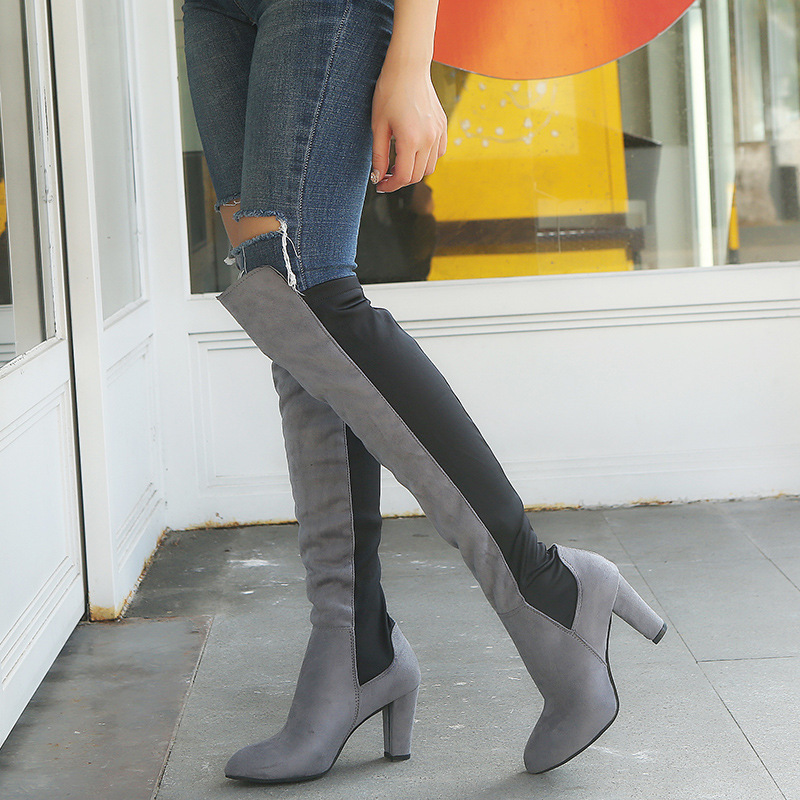 2018 Fashion Female Winter Thigh High Boots Faux Suede Leather High Heels Women Over The Knee Shoes Plus Size ghn8