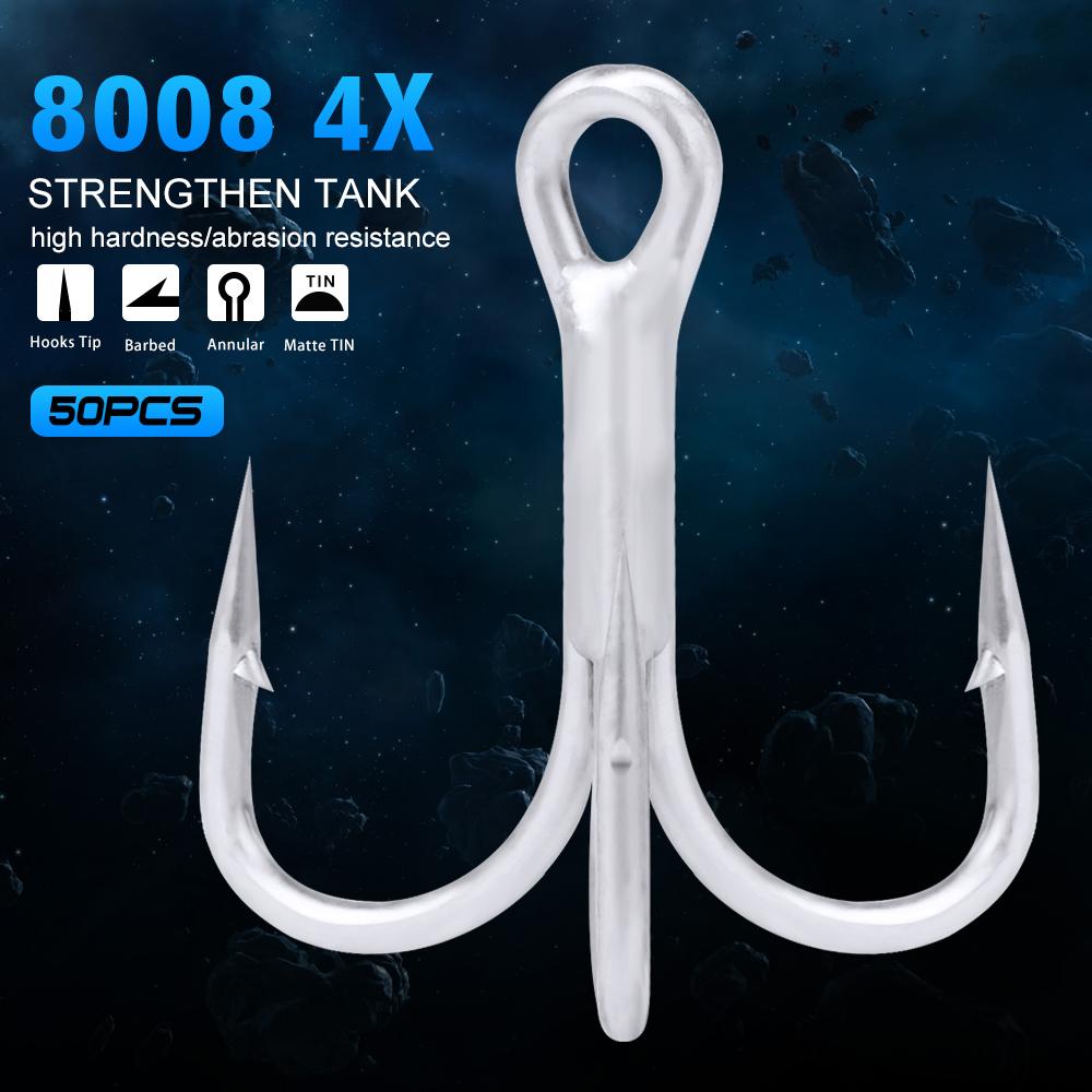 Lots 50pcs Fly Fishing Barbed Treble Hooks Black High Carbon Fishhook 10# 3//0#