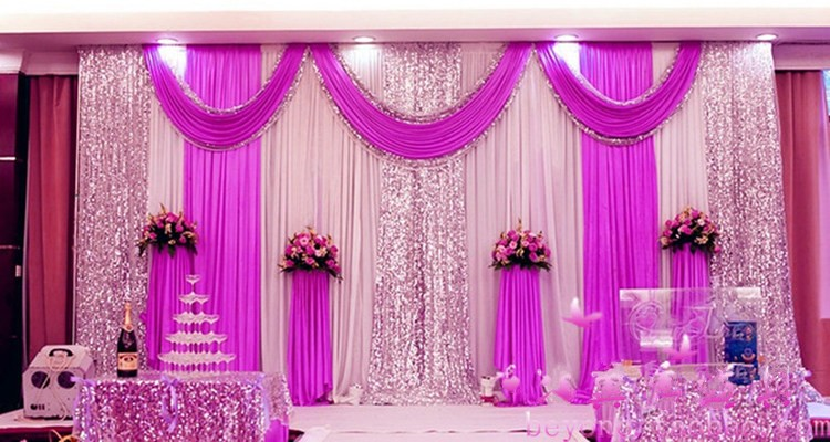 Wedding Decorations 3MX6M ice silk Fabric Satin Drape Curtain Silver Sequins Swag Party Stage Performance Background Decoration