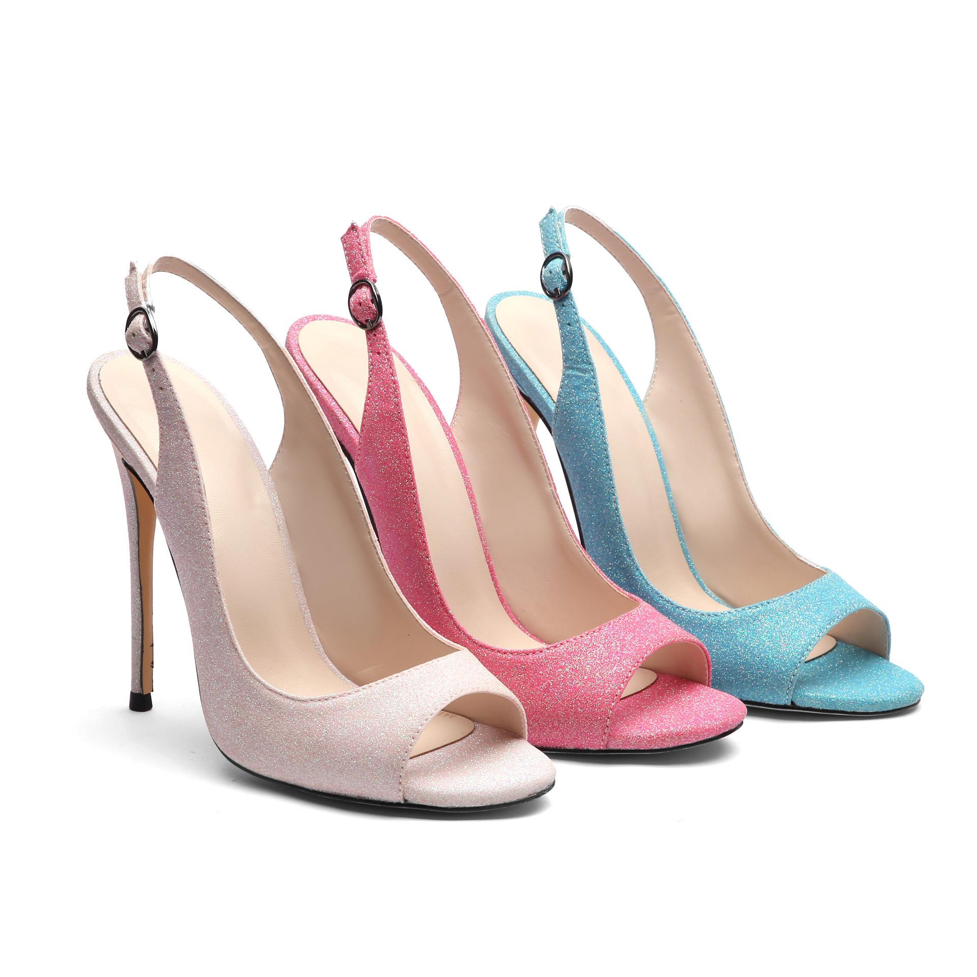 Hot2019 Boucle One Fine With Fish Mouth Sandals Femme Summer Trip Apportez Des Chaussures à Talons Hauts Back Air Single Shoe