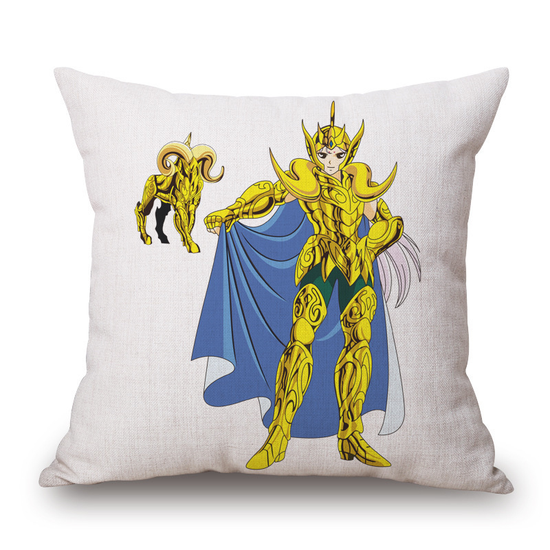 Gold Twelve Constellation Embrace Pillow Case Holy Fighter Sofa Cushion Gift Customized