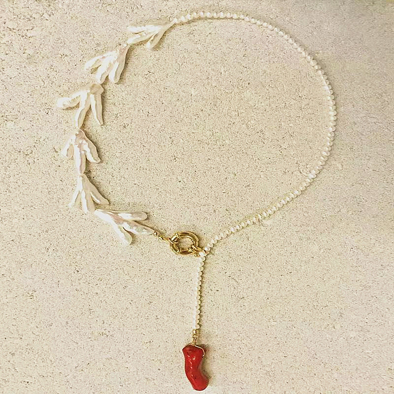 """19/""""  5Strds 12mm White  Baroque Pearl Crystal Necklace"""