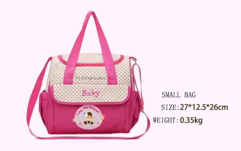 CROAL CHERIE 381830cm5pcs Baby Diaper Bag Sets changing Nappy Bag For Mom Multifunction Stroller Tote Bag Organizer (8)