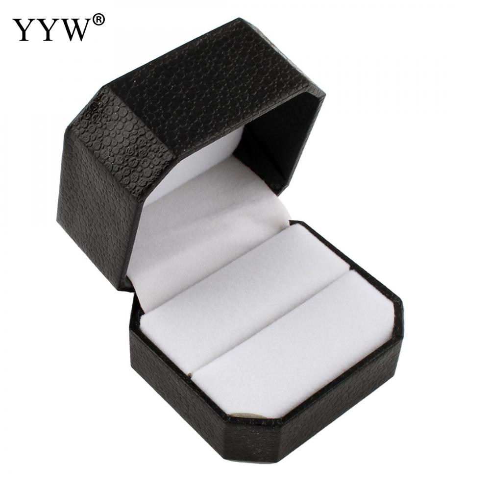 PU Leather Jewelry Necklace Ring Earring Display Storage Organizer Box Case Gift Box Black Engagement Wedding Jewelry Container