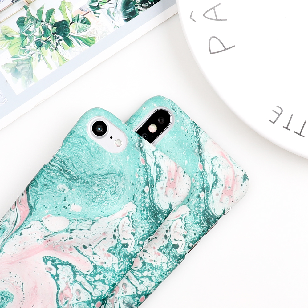 Fashion Gradient Marble Texture Phone Case For Apple Iphone X 6 6s 7 8 Plus 5 5s Se Vintage Matte Hard Pc Back Cover