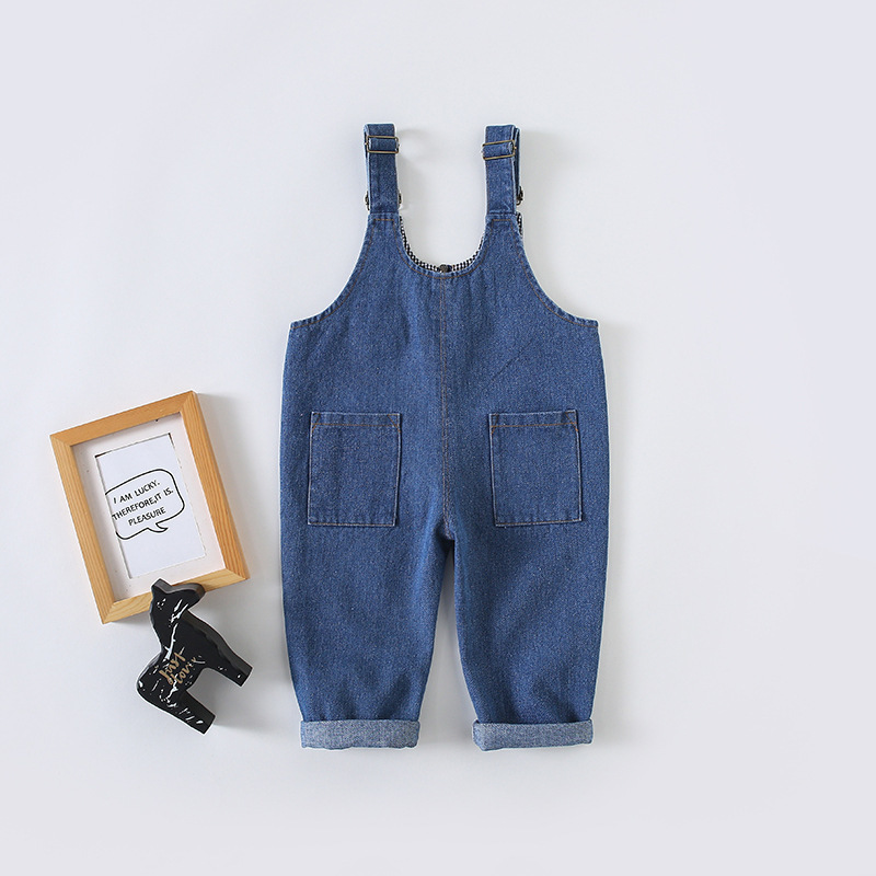 2019 Spring Baby Boys Girls Solid Blue Overalls Denim Pants Children Unisex Jeans Jumpsuit Pants Kid Clothing Free Drop Shipping