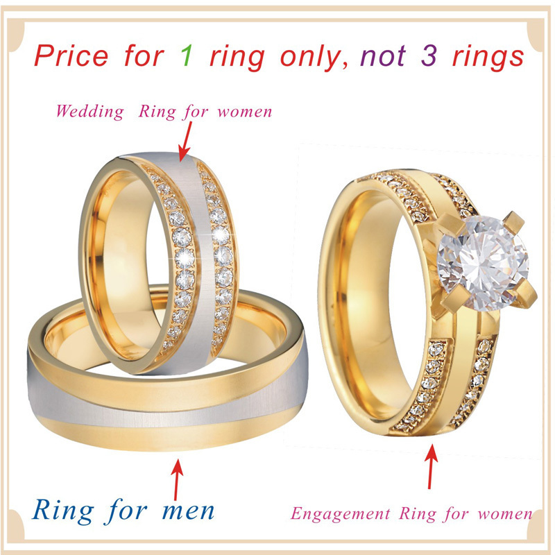 Luxury Gold Color 3 pieces wedding rings set for men and women bridal band Jewelry cz couple engagement rings alliance anel (6)