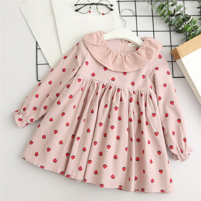 Baby Girl Clothes Long Sleeve Girls Dress Toddler Baby Kids Girls Strawberry Printed Ruffles Party Princess Dress robe fille D13 (5)