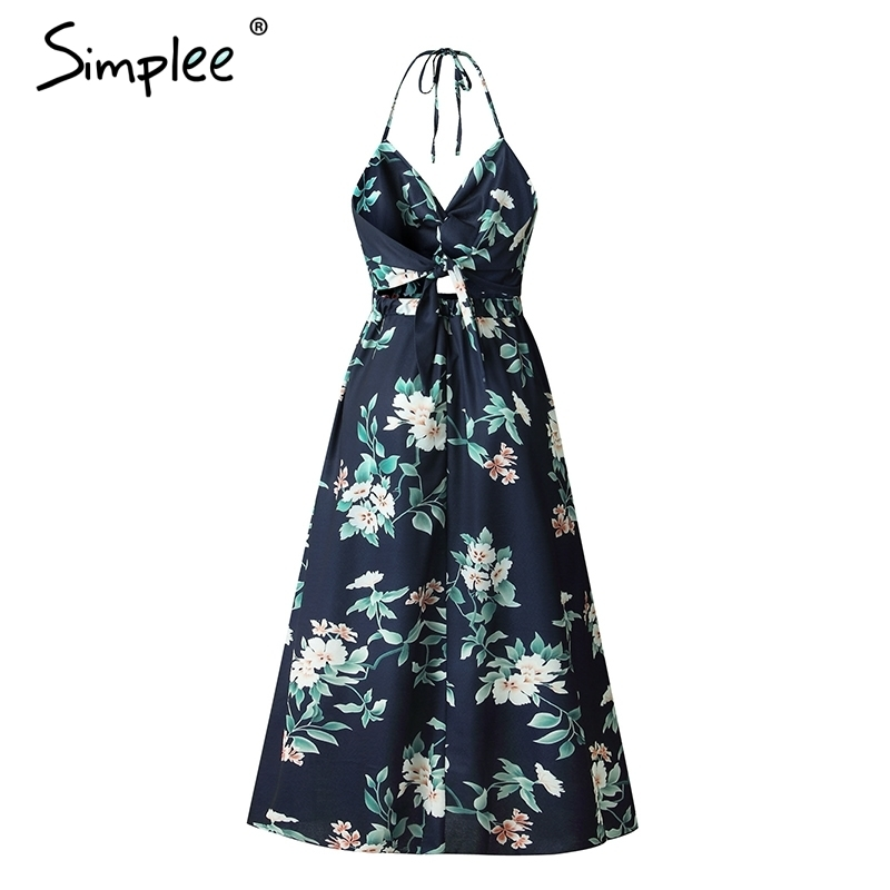 Simple Sexy V -cut Maxi Long Dress Women Vintage High Waist Split Summer Dress Floral Print Backless Party Dress Vestidos 2019 Y19070901