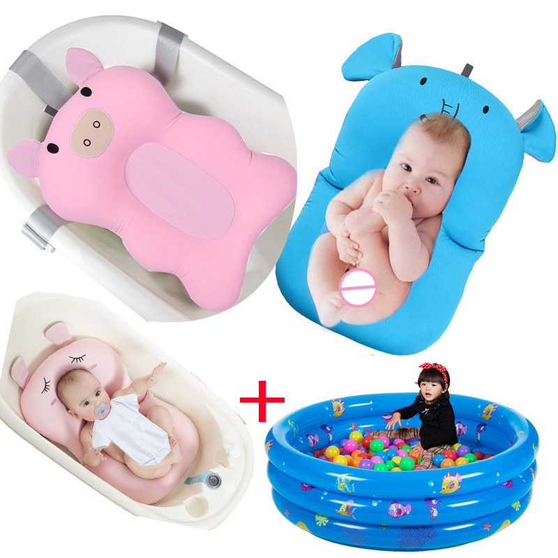 Design in Cute Cartoon Model (not Included The Bath tub in The Picture) Baby Floating Lounger Support seat Cushion mat for Infants Baby Bath pad