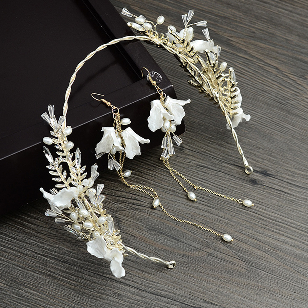 Charm Wedding Rhinestone Hair Comb Bridal Hair Accessories Flowers Crystal Hair Clips with Earrings