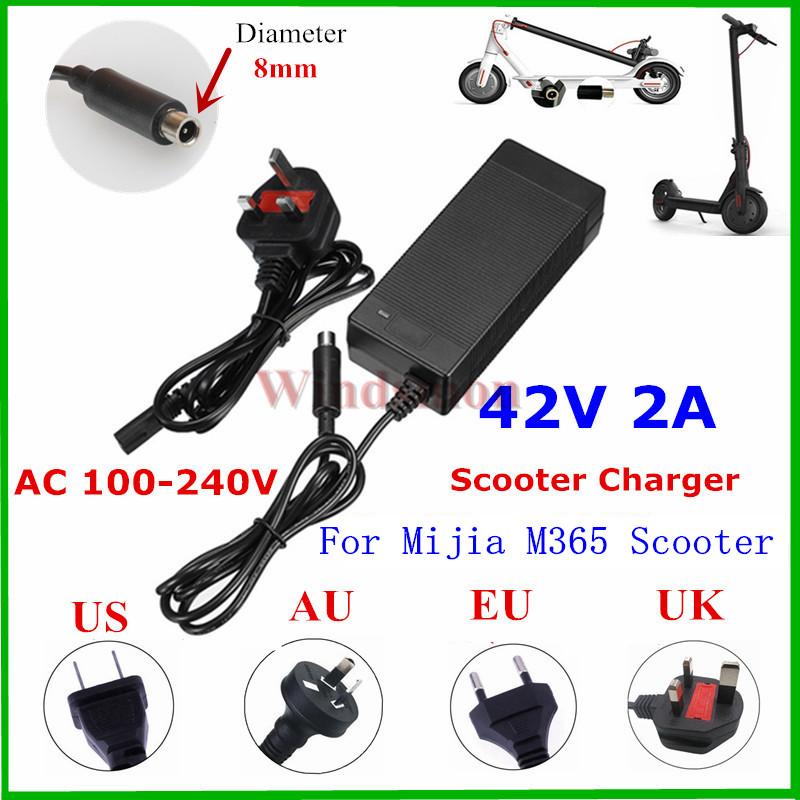 Roller Ladeger/ät 42V 2A Elektroroller Ladeger/ät Adapter f/ür Smart Skateboard mit Zwei R/ädern