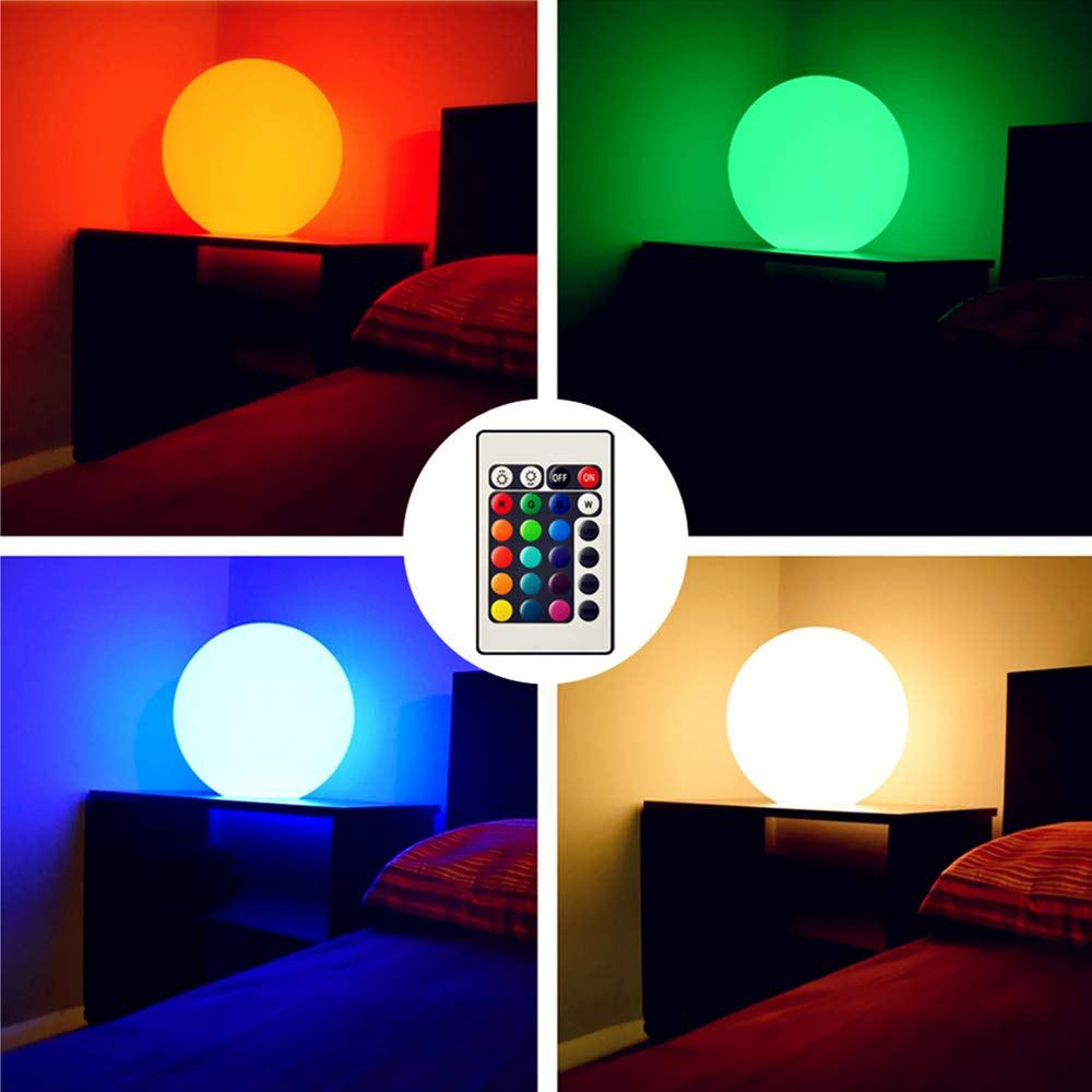 BRELONG Rechargeable Color LED Ball Light Spherical Ball Light with Remote Control, Home Pool Party Dimmable Night Light 12cm