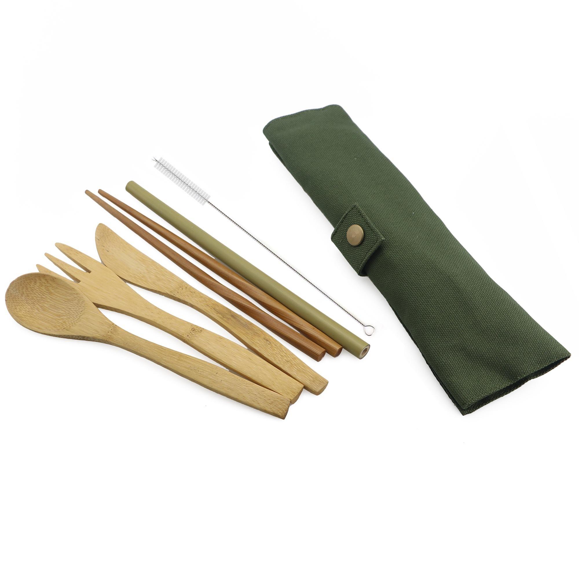 7-piece Light Portable Japanese Wooden Dinnerware Cutlery Set Bamboo Straw Fork Knife With Chopsticks Straws Bag Useful Travel C19042101