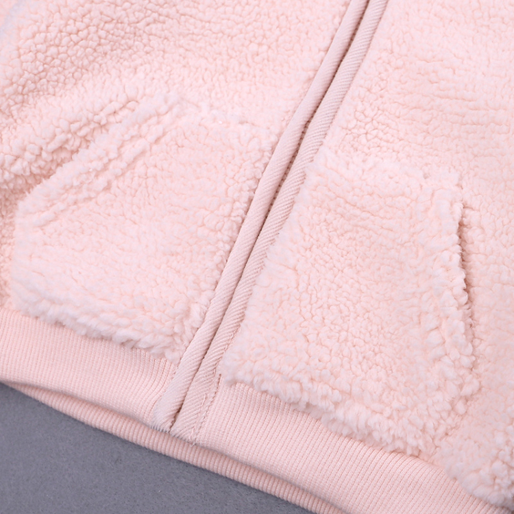 Pink hooded baby coat cute cartoon girls outfits (4)
