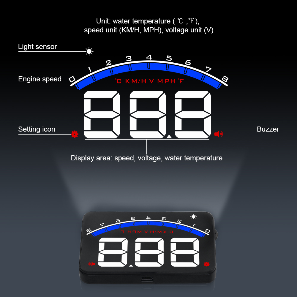 M6 Car HUD OBD2 RPM Meter Head-Up Display Overspeed Warning System Auto Electronic Water Temperature Alarm