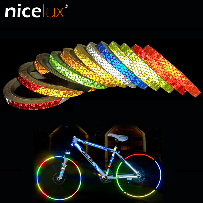 Reflective Tape Fluorescent MTB Bike Bicycle Cycling MTB Reflective Stickers Adh