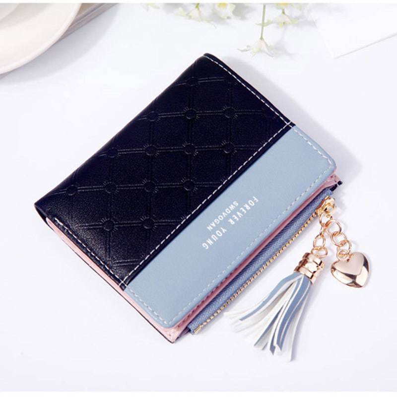 Women Wallet Female Short Paragraph Coin Purse Color Wallet Women Small Fold Wallets Tassel Zipper Button Bag Credit Card Holder (3)