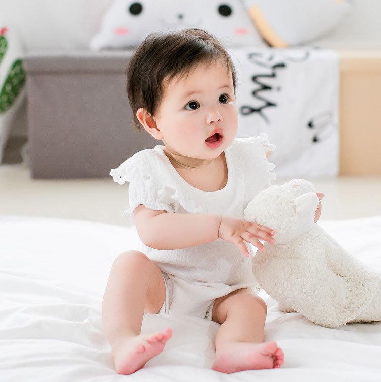 Cute Newborn Baby Girl Romper 2017 Summer short sleeve Princess fur ball Sunsuit One Pieces Tassel Clothes free drop shipping (8)