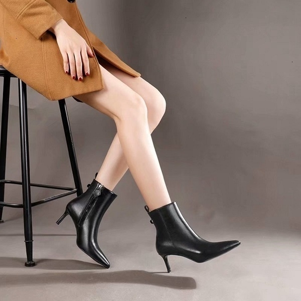Hot Women Leather Boots Autumn and winter Ankle Pointed stiletto shoes Short boots 110203
