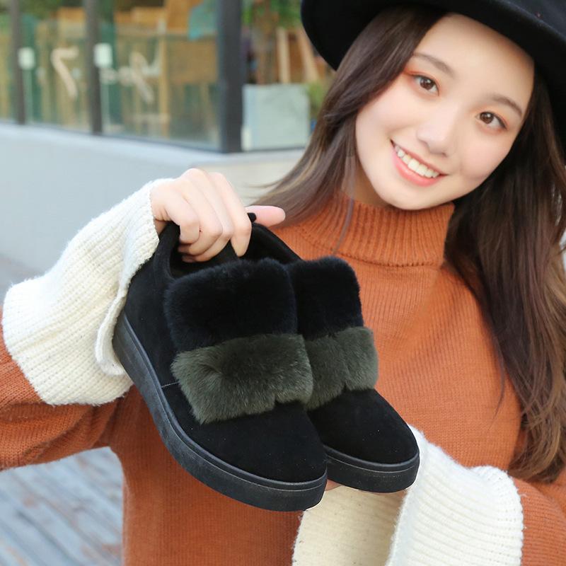 Winter Women Shoes Fur Slip on Shoes Increasing Loafers Faux Fur Wedges Woman Plush Loafer Fashion Designer Shoe ukm89