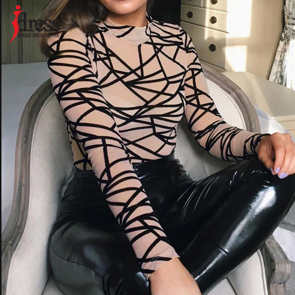 IDress 2020 New Long Sleeve Bodycon Bodysuit Sexy Patchwork Print Body Suit Tops Women One Piece Jumpsuits & Rompers Overall (5)