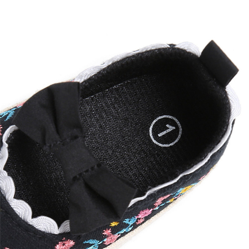 Baby Girls Shoes Fashion Newborn Infant Baby Girls Canvas Floral Bowknot Lace Shoes Soft Sole Anti-slip First Walker M8Y04 (19)
