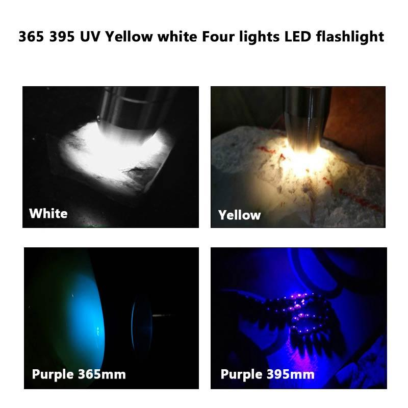 Portable LED Multi-function Flashlight UV Light Four Light Source White Yellow Product Logo Work with Silver Rechargeable