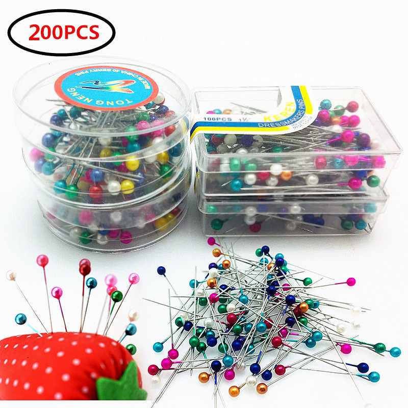 Black 100PCS 32mm Pin Sewing Needles Glass Head Pins Crafts Positioning Needle Garment Accessory Apparel Glass Head Bead Locating