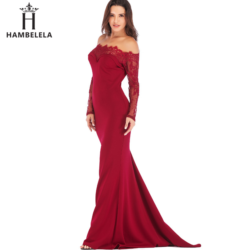 HAMBELELA Robe De Soiree Longue Long Sleeve Mermaid Evening Dresses Formal Evening Gowns China Vestido Longo Bodycon Lace Dress (18)