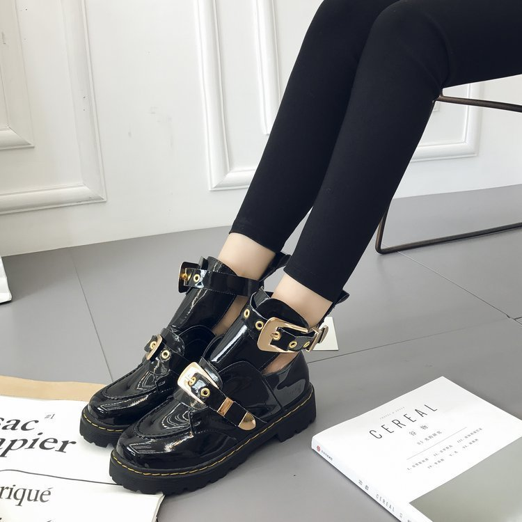 2018 Patent Leather Ankle Boots For Women Buckle Strap Winter Shoes Casual Flat Zapatos De Botas Mujer zapatos de mujer