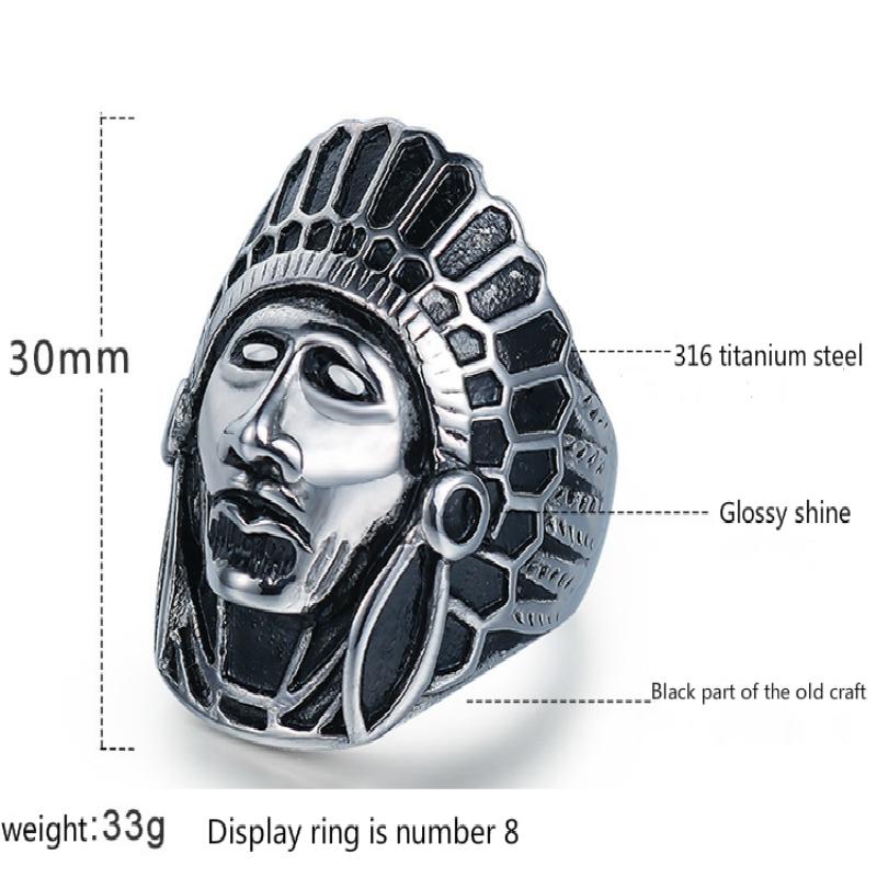 Jingyang New Indian Chief Forefinger Titanium Steel Retro Punk Cast Skull Personality Anello Gioielli in acciaio inossidabile