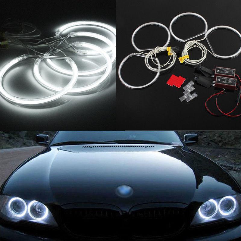 2x coche cob LED Angel Eyes Halo Anillo Niebla Doble Lámpara Luz 80 mm Para BMW Ford