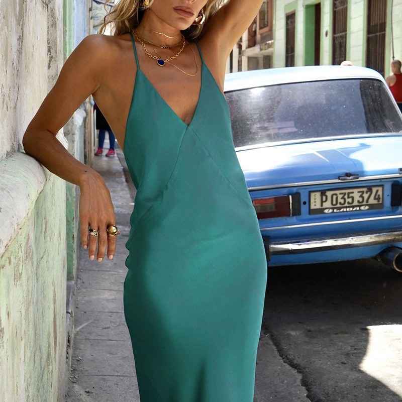 Boofeenaa Green Satin Silk Sexy Maxi Women Elegant Party Club Dresses Spaghetti Strap Backless Slip Dress Vestido C66-ab31 Q190516