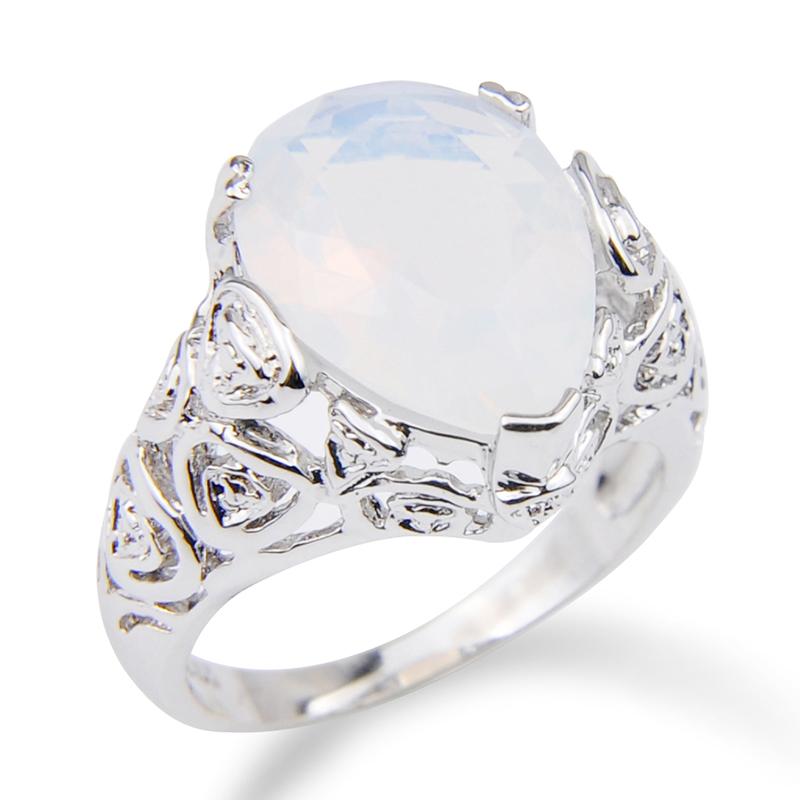 925 Silver Mint Moonstone Gemstone Wedding Engagement Rings Wholesale Size 6-10