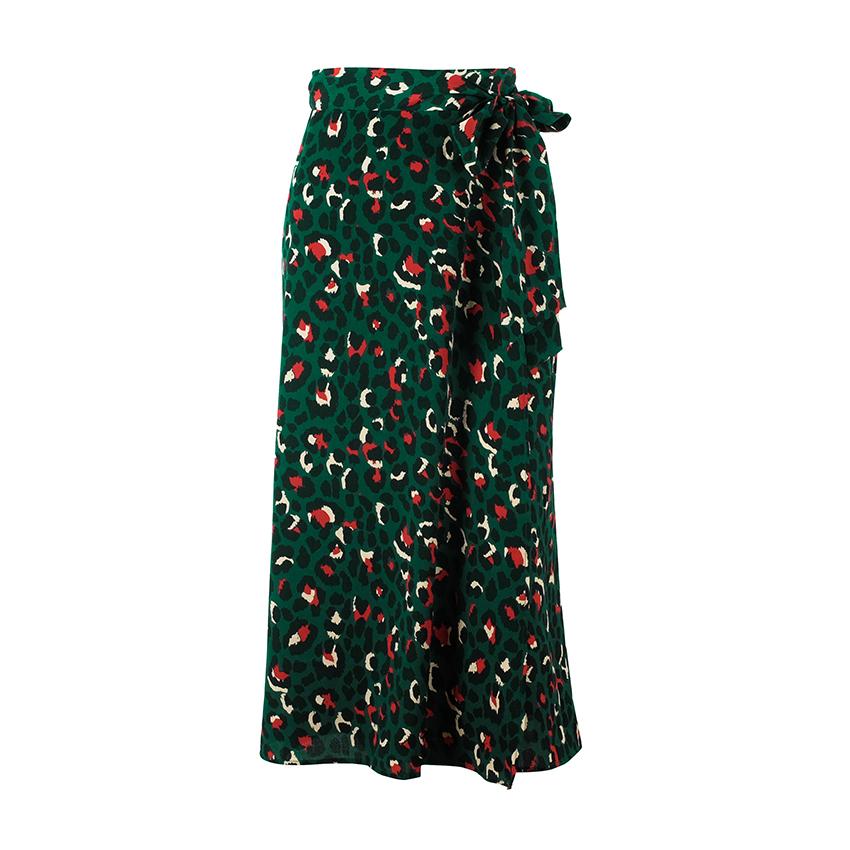 Leopard Vintage Imprimer Jupes longues Femmes Jupe taille haute Midi Bow Tie 2019 d'été sexy de Split jupe portefeuille dames Green Beach