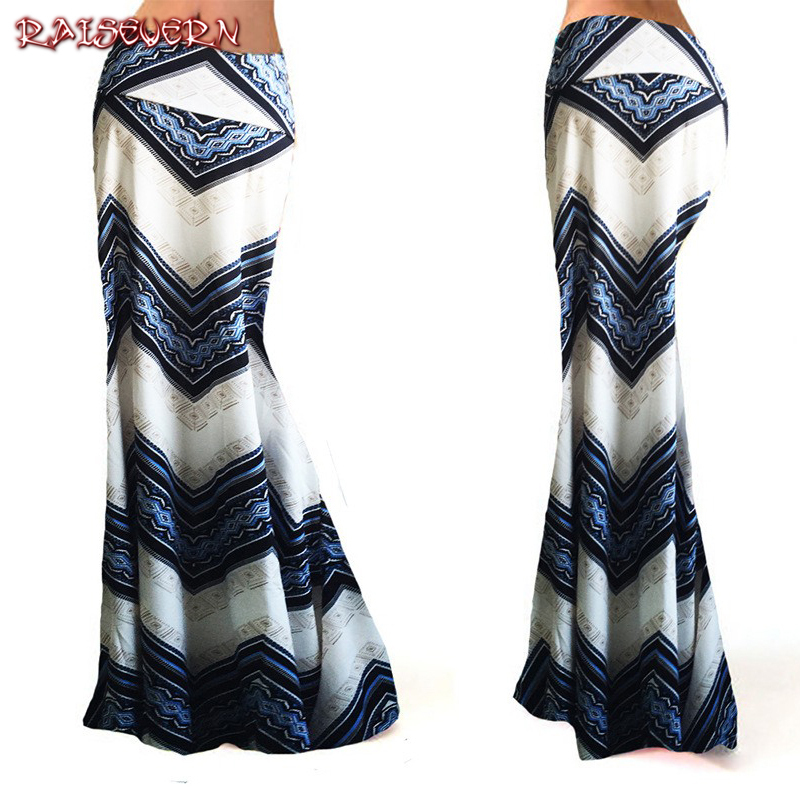 RAISEVERN 2018 Women Elegant High Waist Bodycon Work Business Party Cocktail Fishtail Mermaid Flared Pencil Lace-Up Long Skirt
