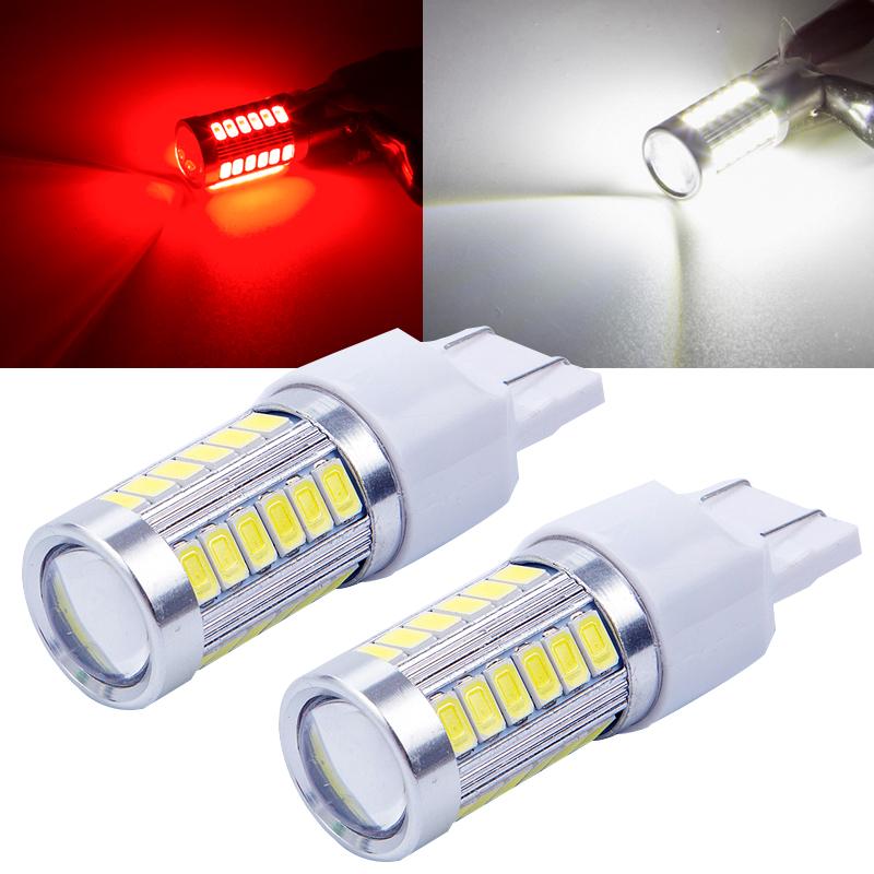 2Pcs White BAY15D 1157 Car Tail Stop Brake Light 5630 33 SMD LED Canbus Bulb 12V