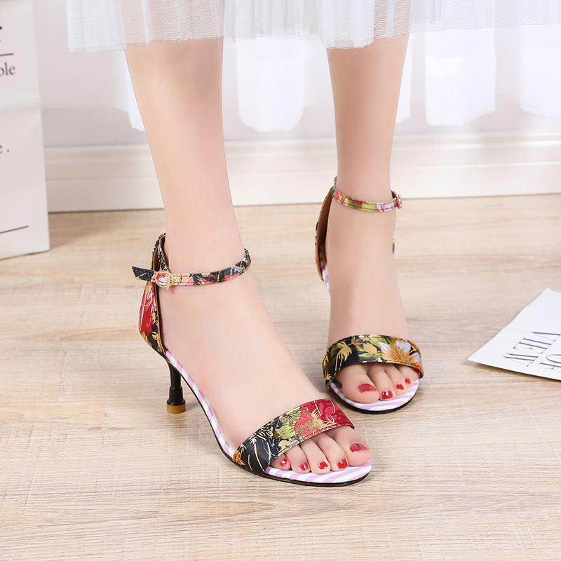 Magical2019 Woman One Fine Word Buckle Women's Shoes Toe Sexy Joker High With Sandals