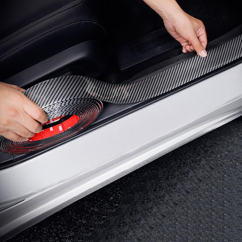 MATBC 4D Fibre De Carbone Autocollants en Vinyle Autocollant De Voiture Porte Seuil Porte Seuil Plaque Protecteur P/édale Autocollant Auto 4Pcs pour Hyundai I20