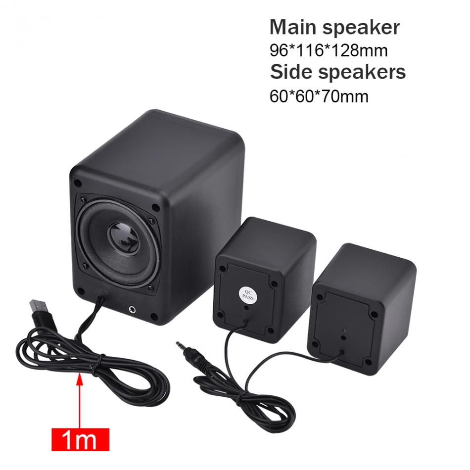 SADA D-201 USB Wired Combination Speaker Mini Bass Stereo Speaker Music Player Subwoofer for Cellphone Laptop